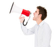 Man screaming with megaphone