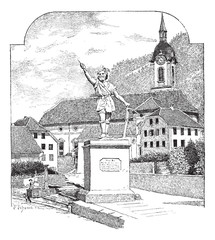 Statue of William Tell in Altdorf, Uri, vintage engraving.