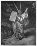 Moses comes down from the mountain with the tablets of Law poster