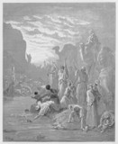 Moses striking the rock in Horeb poster