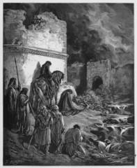 Nehemiah views the ruins of Jerusalem walls