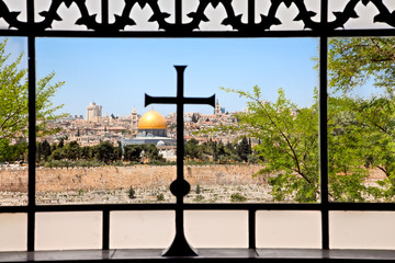 View from Dominus Flevit church on  old  Jerusalem
