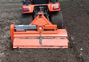 Closeup of Utility Tractor's Tiller Attachment