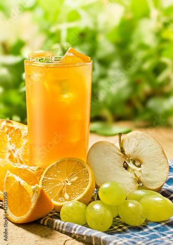 Juice, orange, apple, grape and lemon, outdoor