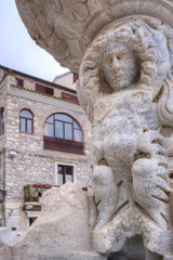 The fountain in main square of Taormina: detail