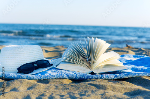Straw hat , sunglasses, book and seashell in the sand
