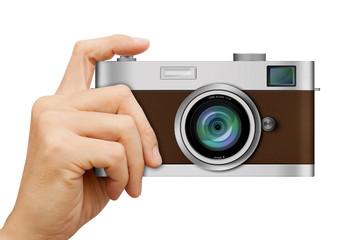 Classic Camera in hand on white background