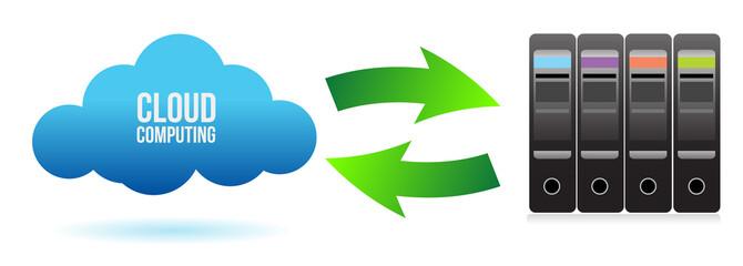 cloud server file transfer concept illustration design