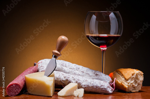 salami, cheese and wine