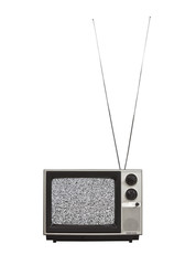 Vintage Portable TV with Long Antennas and Static Screen