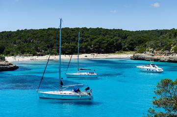 Charter boat anchorage at Cala Mandrago, Mallorca Island