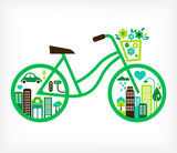 bicycle with green city - vector