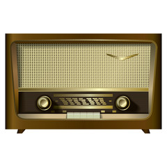retro radio isolated on a white