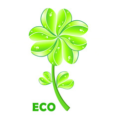 Eco concept. Flower and leaf heart shape on white background.