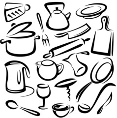 big set of kitchen tools, vector sketch