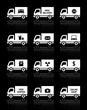 Set of truck icons - free delivery