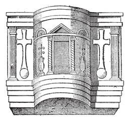 Pulpit of the Cathedral of Ravenna, vintage engraving.