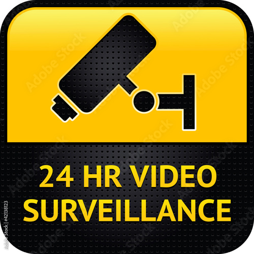 Video surveillance symbol, punched metal surface