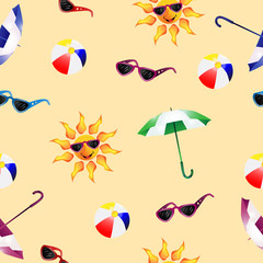 Pattern with umbrella , sunglasses , ball beach and sun