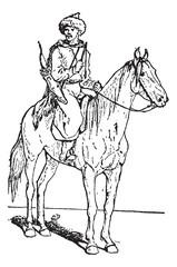 Kalmuck or Kalmyk archer on horse, vintage engraving.