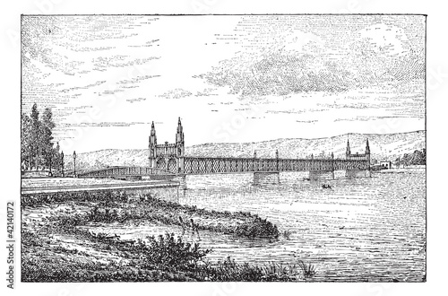 Kehl bridge, vintage engraving.