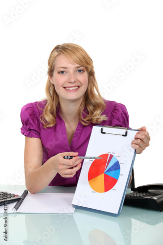 A businesswoman presenting a chart.