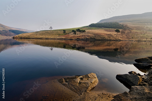 30- landscape of dovestone in early march morning