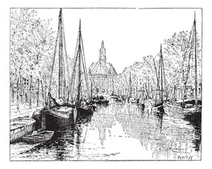 The Hague in the Netherlands, vintage engraving
