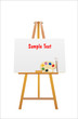 easel and brush with wooden art palette with paints