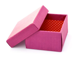 open pink cardboard box for gift packing isolated on white