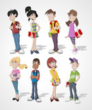 Group of cartoon teenager students