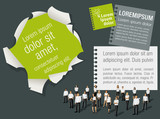 Green and gray template for advertising with business people