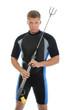 underwater hunter in full  equipment