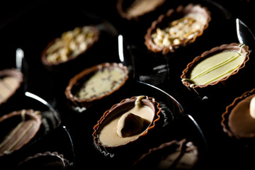 Closeup of different chocolate candies