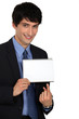 Businessman pointing to a blank notepad