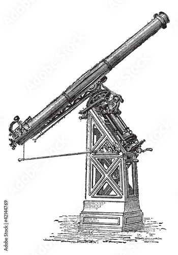 Equatorial telescope called Observatory of Paris, vintage engrav