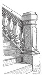 Staircase Handrail, vintage engraving poster