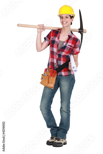 Woman holding pick-axe