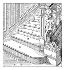 Steps, vintage engraving