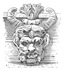 Grotesque Mask, vintage engraving