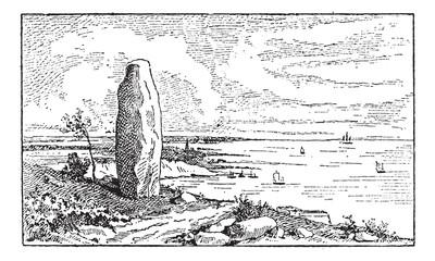 Menhir, vintage engraving