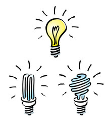 Hand drawn, cartoon of light bulbs Tungsten, energy saving bulb