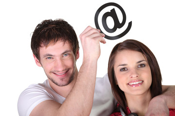 Couple with email symbol