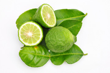 Three leech lime fruits isolated on white
