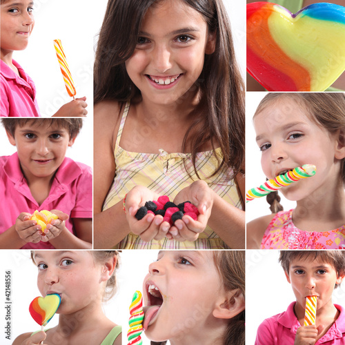 Montage of children eating sweets