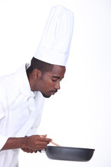Cook on white background