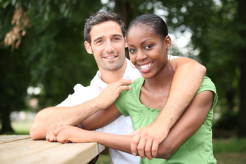 Portrait of an interracial couple