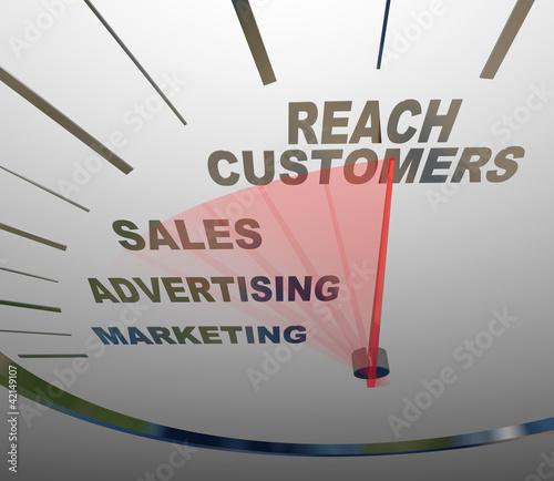 Reach Customers Speedometer Marketing Advertising Sales