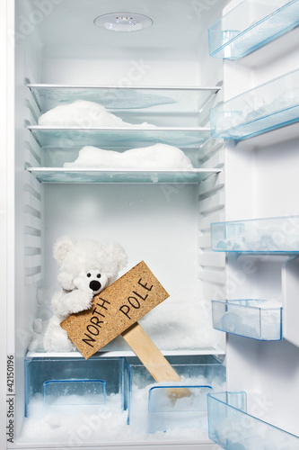Polar bear in refrigerator with North Pole sign. Global warming