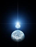 Two Planet with Blue Star